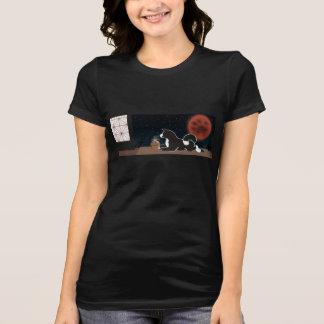T-shirt noir de lune de récolte de MARS des femmes