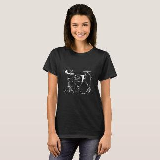 T-shirt Noir de silhouette de Drumkit