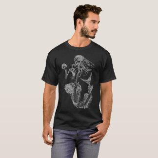 T-shirt noir de squelette de la sirène des hommes