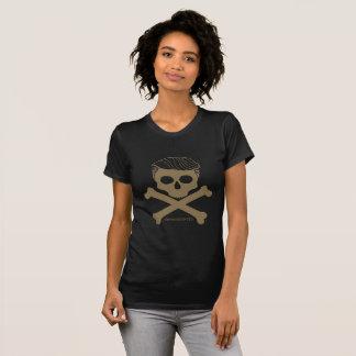 T-shirt Noir de t de dames avec le logo d'or