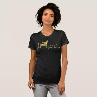 T-shirt Noir de tee - shirt de chiwawa de feuille d'or