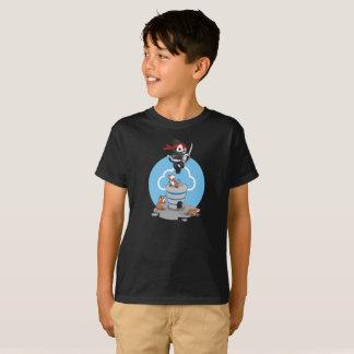 T-shirt noir d'enfants de rats d'épée de ciel bleu