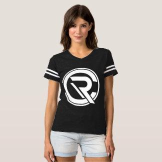 T-shirt noir du football des femmes de centre de