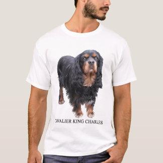 T-shirt Noir et chien cavalier du Roi Charles de Brown