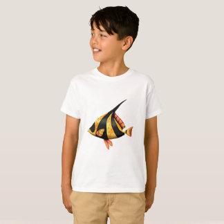 T-shirt Noir et poissons tropicaux d'angle d'or