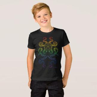 T-shirt Noir gris d'art de poulpe de fierté nautique