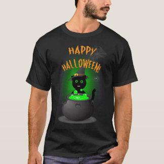 T-shirt noir heureux de Halloween avec le chat