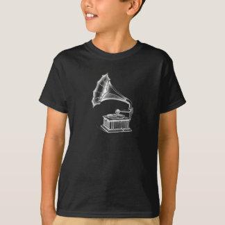 T-shirt Noir musical vintage de tourne-disque de
