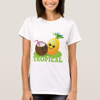 T-shirt Noix de coco et ananas mignons TROPICAUX de Kawaii