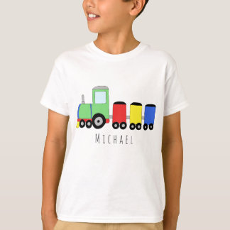 T-shirt Nom locomotif coloré du train du garçon