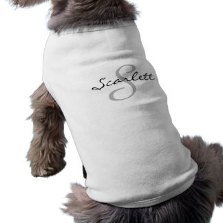 T-shirt Nom moderne chic de l'animal familier | d'initiale