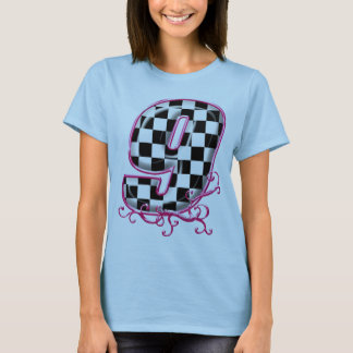 T-shirt nombre checkered de RaceFashion.com # 9 avec le