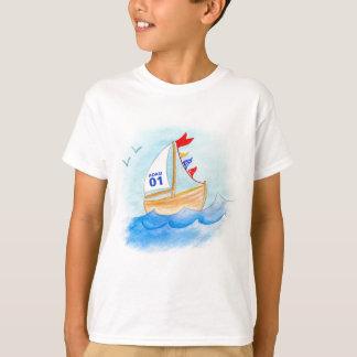 T-shirt Nombre de nom d'art de bateau à voile sur le