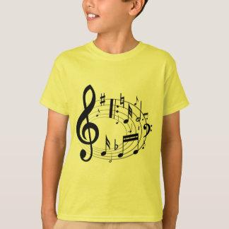 T-shirt Notes musicales noires dans la forme ovale
