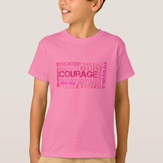 T-shirt Nuage de mot de courage de cancer du sein