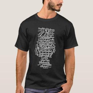 T-shirt Nuage écossais de mot - blanc sur le noir