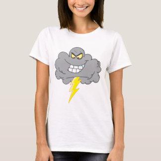 T-shirt Nuage noir de bande dessinée avec la foudre