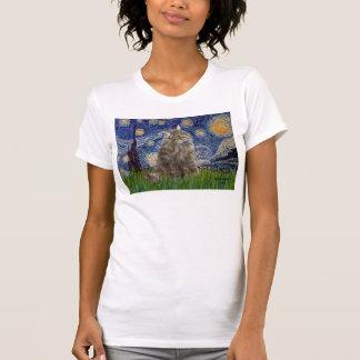 T-shirt Nuit étoilée - chat norvégien de forêt