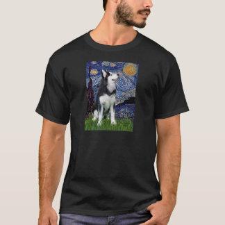 T-shirt Nuit étoilée - chien de traîneau sibérien #1