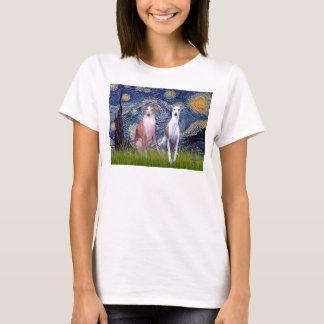 T-shirt Nuit étoilée - deux whippets