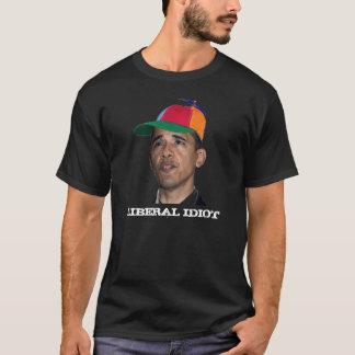 T-shirt Obama, noir LIBÉRAL d'IDIOT