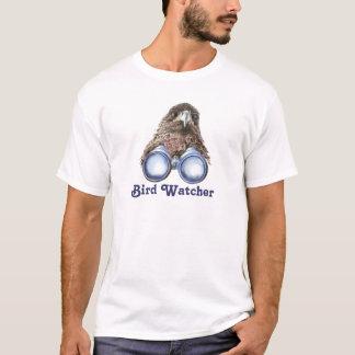T-shirt Observateur d'oiseau vous observant aquarelle