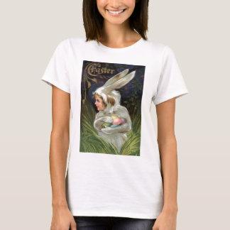 T-shirt Oeuf peint coloré par costume de lapin de Pâques