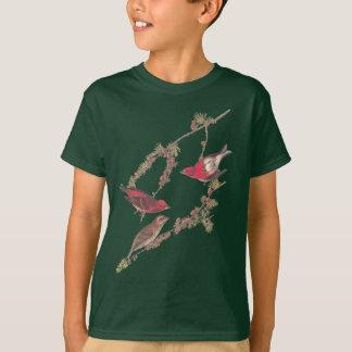 T-shirt Oiseau rouge du pinson pourpre d'Audubon sur le
