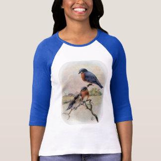 T-shirt Oiseaux bleus orientaux avec l'oiseau de bébé