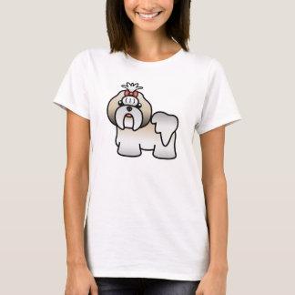 T-shirt Or argenté et bande dessinée blanche Shih Tzu