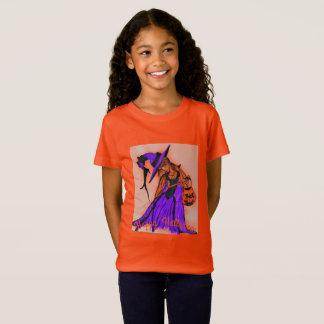 T-Shirt Orange du Jersey de filles