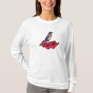 T-shirt oriental de camélia d'oiseau bleu
