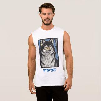 T-shirt original d'art de loup sans manche