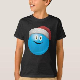 T-shirt Ornement bleu de Noël utilisant un casquette rouge