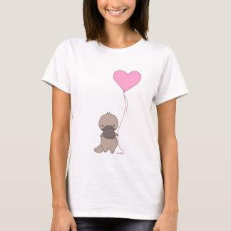 T-shirt Ornithorynque tenant le ballon de coeur