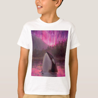 T-shirt Orque d'épaulard et lumières du nord roses/magenta