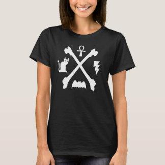 T-shirt Os de batte d'Ankh de chat de Deathrock Goth Kitty