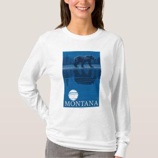 T-shirt Ours marchant dans le voyage vintage de clair de