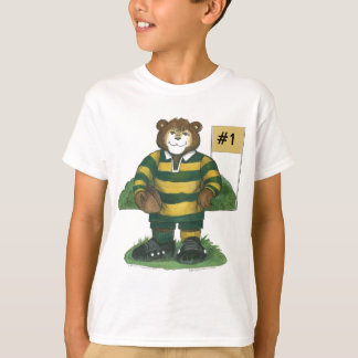 T-shirt Ours masculin de rugby en vert et or