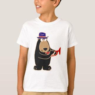 T-shirt Ours noir jouant la trompette rouge