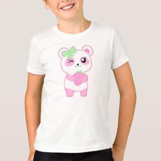 T-shirt Ours panda mignon de Kawaii de rose de fraise