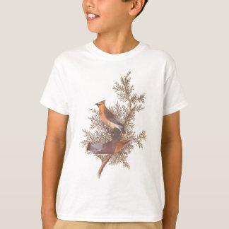 T-shirt Paires d'oiseau de jaseur de cèdre d'Audubon sur