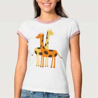 T-shirt Paires drôles mignonnes de girafe