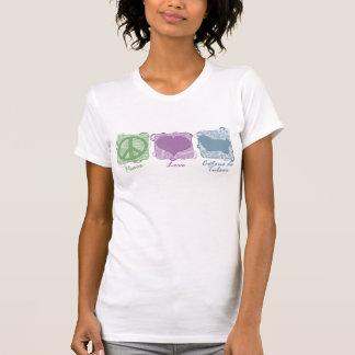 T-shirt Paix, amour, et Cotons de Tulear en pastel