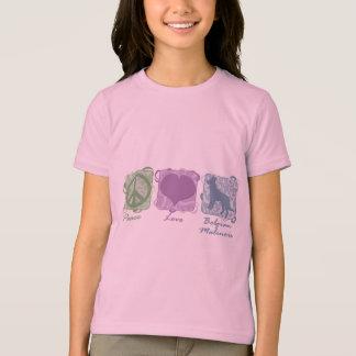 T-shirt Paix, amour, et enfant en pastel de Malinois de
