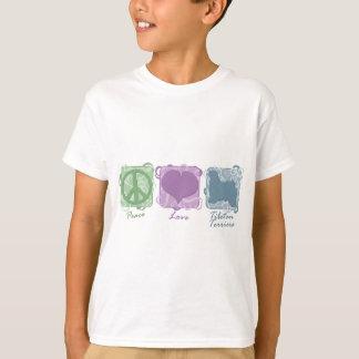 T-shirt Paix, amour, et enfant en pastel de terriers