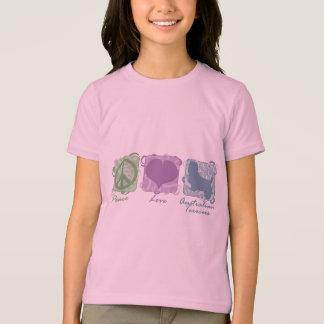 T-shirt Paix, amour, et enfants en pastel de terriers