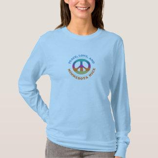 T-shirt Paix, amour et pièce en t de douille du Minnesota