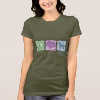T-shirt Paix, amour, et poseurs de Gordon en pastel