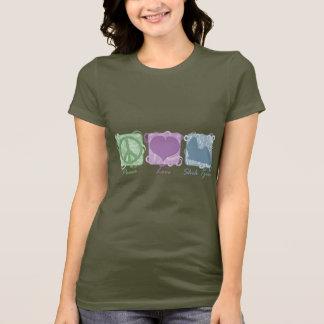 T-shirt Paix, amour, et Shih en pastel Tzus